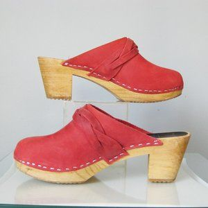 Red Leather Clogs Swedish Wooden Clogs